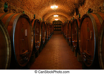 Wine Cellar - A wine cellar full of barrels of wine