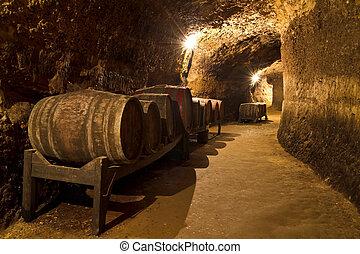 Wine Cellar - An old wine cellar with oak barrels