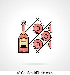 Wine cellar flat color vector icon