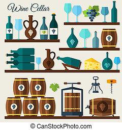 Wine cellar decorative icons set of grape winery corkscrew vector illustration