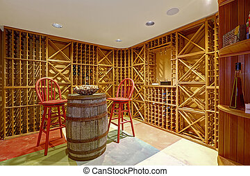 Wine cellar interior in basement room.