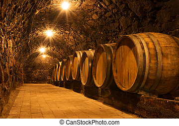Wine cellar - Oak barrels in the tunnel of Tokaj winery ...
