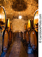 Wine cellar passage - Old traditional wine cellar with big...