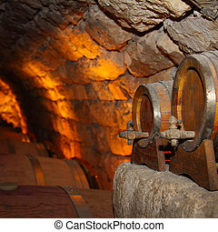 wine cellar with small and large barrels