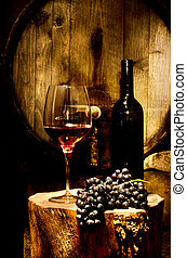 Wine Cellar - Still life with glass of red wine in the...