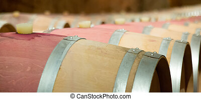 wine cellar   -  wine cellar with many  wooden barrels