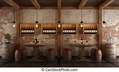 Wine cellar with dining table for tasting - Old wine cellar...