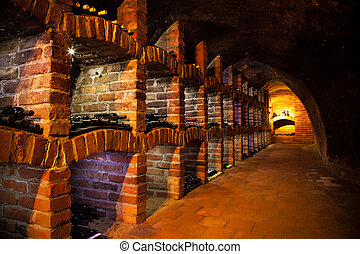 Wine cellar with many kinds of bottles - Long exposure of...