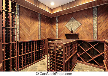 Wine cellar with multiple racks - Wine cellar in luxury home...