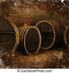 Wine cellar with old oak barrels in vintage style - Wine...