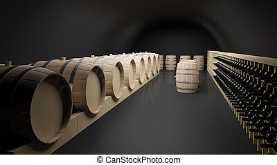 Wine cellar with wine barrels and bottles