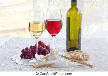 Wine, cheese and bread