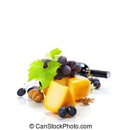 Wine, cheese and grape