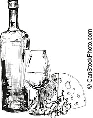 Wine, cheese and grapes. Hand drawn illustration