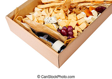 Wine Cheese Carton Box Isolated Delivery Closeup
