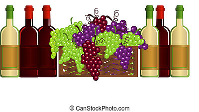 Wine - Illustration with wine bottles and grapes