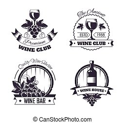Wine club house logo templates or winemaking bar shop label...