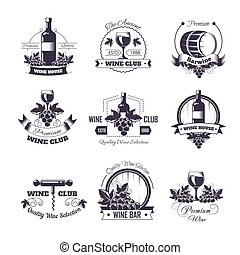 Wine club house vector icon templates for winemaking bar label