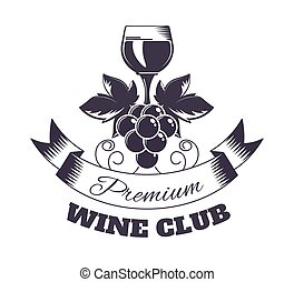 Wine club isolated monochrome emblem with glass and grapes