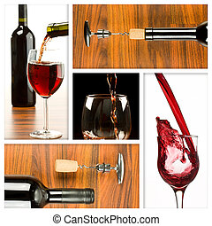 wine collage - Collage of wine drink related pictures made...