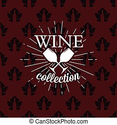 Wine collection logo on seamless pattern, vector illustration