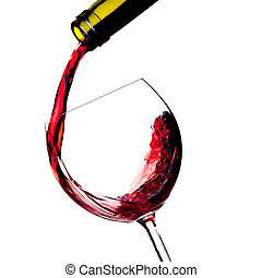 Wine collection - Red wine is poured into a glass from bottle