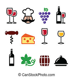 Wine colourful icons set - glass - Drinking wine icons set ...