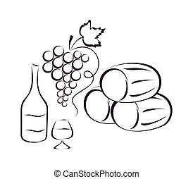 Wine composition. - Butts, grapes, a bottle of wine and a ...