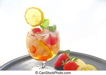 Wine cooler with fruit and copy space