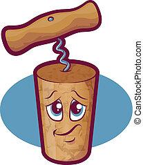 Wine Cork Character - Cartoon cork mascot with corkscrew