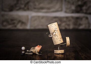Wine cork figure, Concept Fairytale frog prince