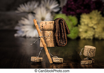 Wine cork figures, Concept Family making a trip - Concept...