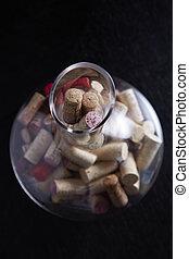 Wine cork in glass jar