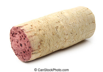 Wine cork on white background