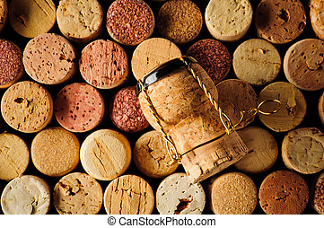 Wine corks and champagne cork - background with different ...