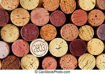 Wine corks - Background of assorted wine corks close up