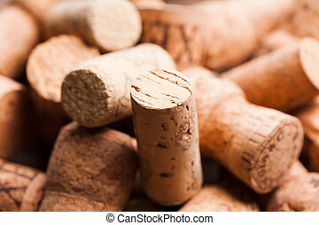 Wine corks - Corks on the wooden table. Wine and alcohol...