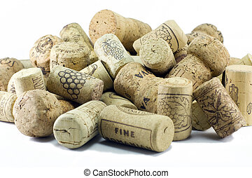 Wine Corks (Crisp image) - A pile of wine corks on a white...