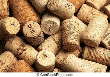 Wine corks - Heap of used vintage wine corks close-up.