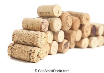 Wine corks isolated on white background
