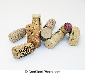Wine corks on a clear background.