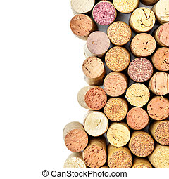 Wine corks isolated on white with copyspace