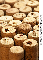 Wine corks - Set of used vintage wine corks close-up.