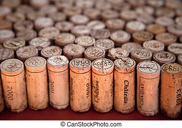 Wine corks standing up - Wine corks arrangement with...