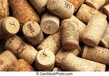 Wine corks - Heap of used vintage wine corks close-up.