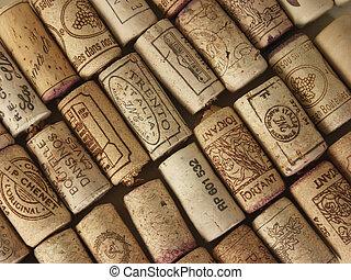 Wine corks - Used corks of wine background