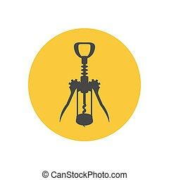 Wine corkscrew silhouette