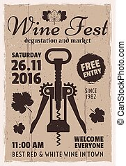 Wine degustation festival retro invitation poster