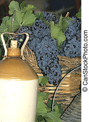 Wine Display - Wine display showing grapes and old wine...