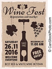 Wine event vintage promotional vector poster